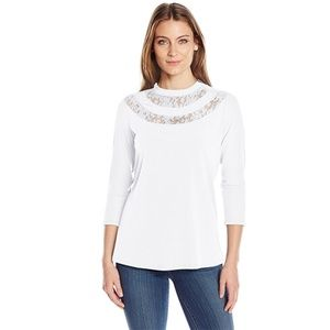 NY Collection V High Neck Lace-Trim Top, White, XL